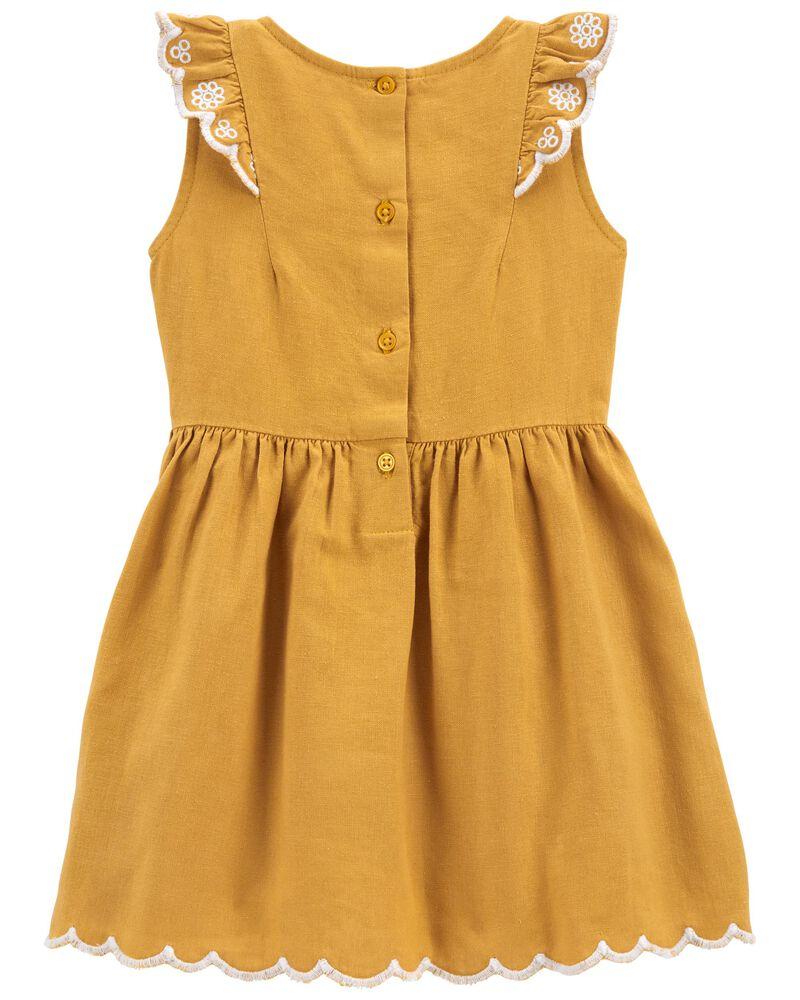 Ruffled Linen Dress, , hi-res