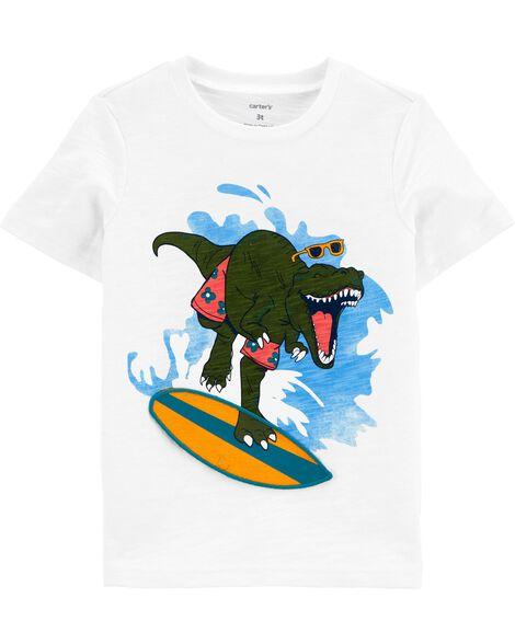 T-shirt en jersey flammé avec dinosaure surfeur interactif