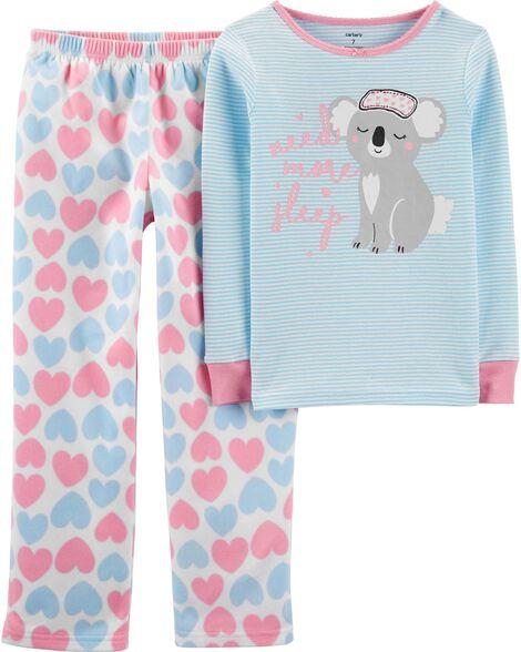 2-Piece Koala Snug Fit Cotton & Fleece PJ Set