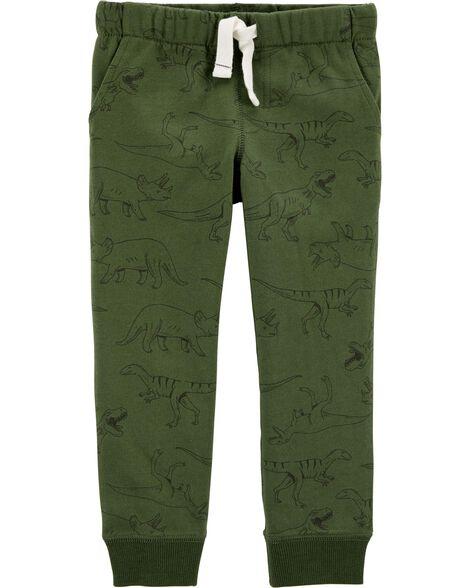 Pantalon de jogging à enfiler en jersey bouclette motif dinosaure