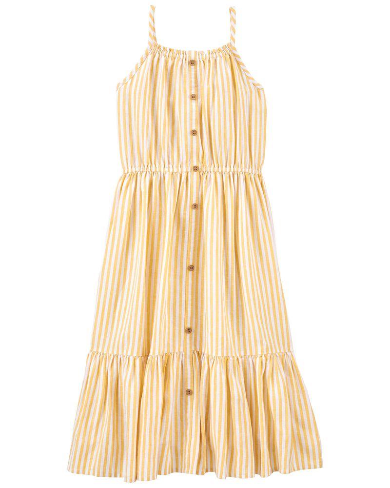 Striped Linen Midi Dress, , hi-res