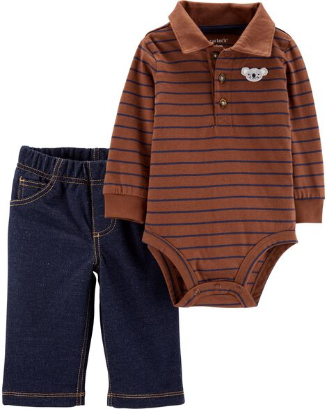 2-Piece Striped Polo Bodysuit Pant Set