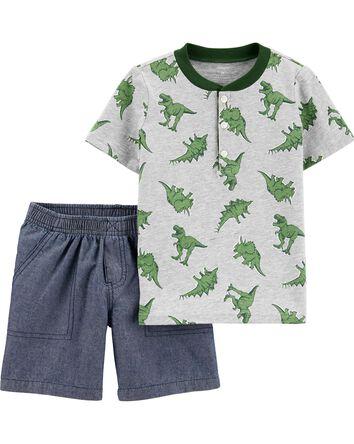 2-Piece Dinosaur Jersey Henley & Ch...