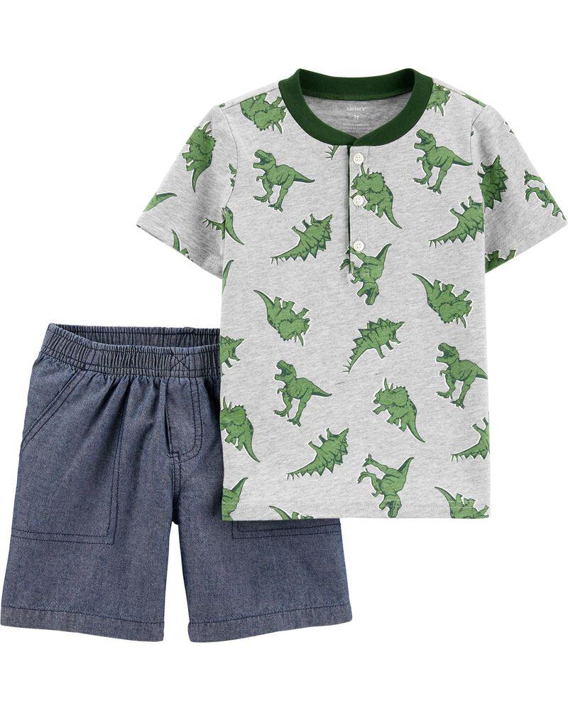 Ensemble 2 pièces haut henley en jersey avec dinosaure et short en chambray, , hi-res
