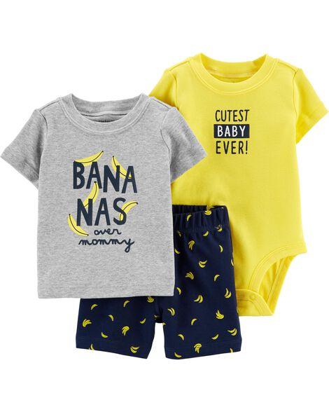 Ensemble 3 pièces short à motif banane