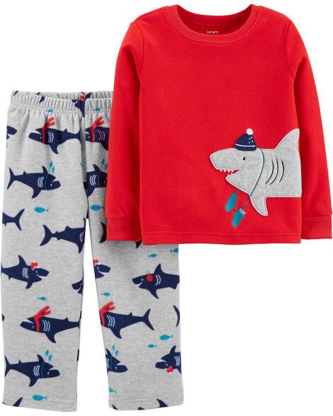 Pyjama 2 pièces en molleton avec requin d'hiver