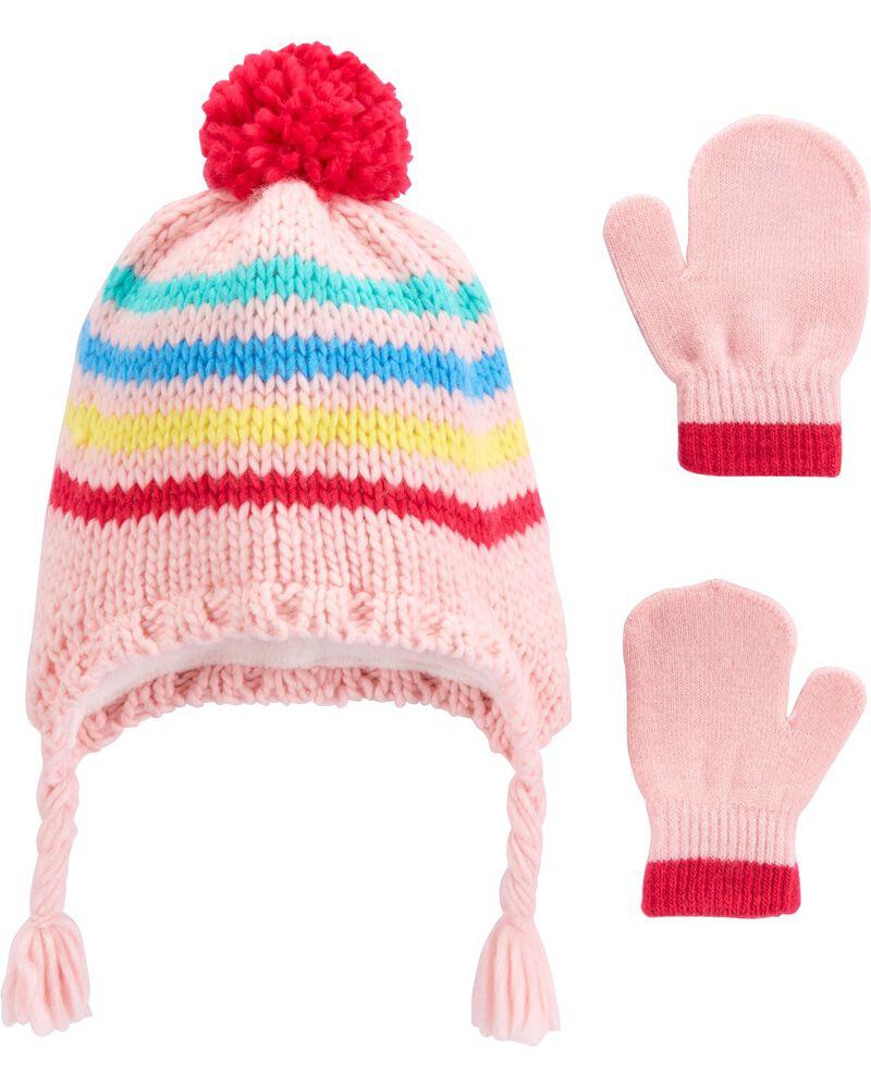 2-Piece Striped Hat & Gloves Set, , hi-res