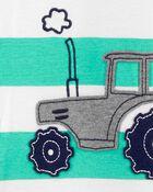 Pyjama 1 pièce sans pieds en coton ajusté tracteur, , hi-res