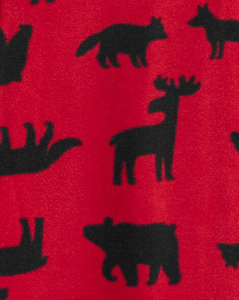 Pyjama 1 pièce à pieds en molleton à motif créatures de la forêt