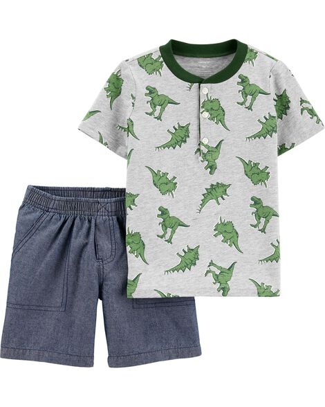 2-Piece Dinosaur Jersey Henley & Chambray Short Set