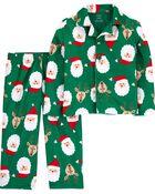 Pyjama 2 pièces en molleton à motif de Père Noël , , hi-res