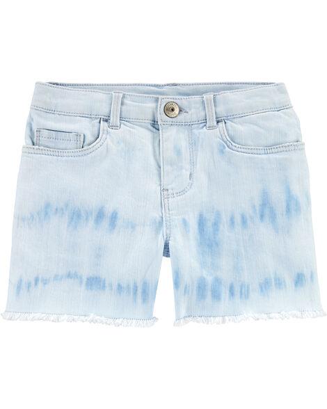 Tie-Dye Stretch Denim Shorts
