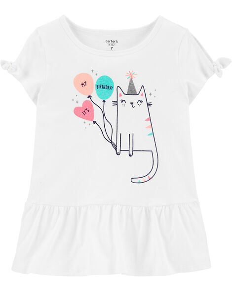 Glitter Birthday Cat Peplum Top