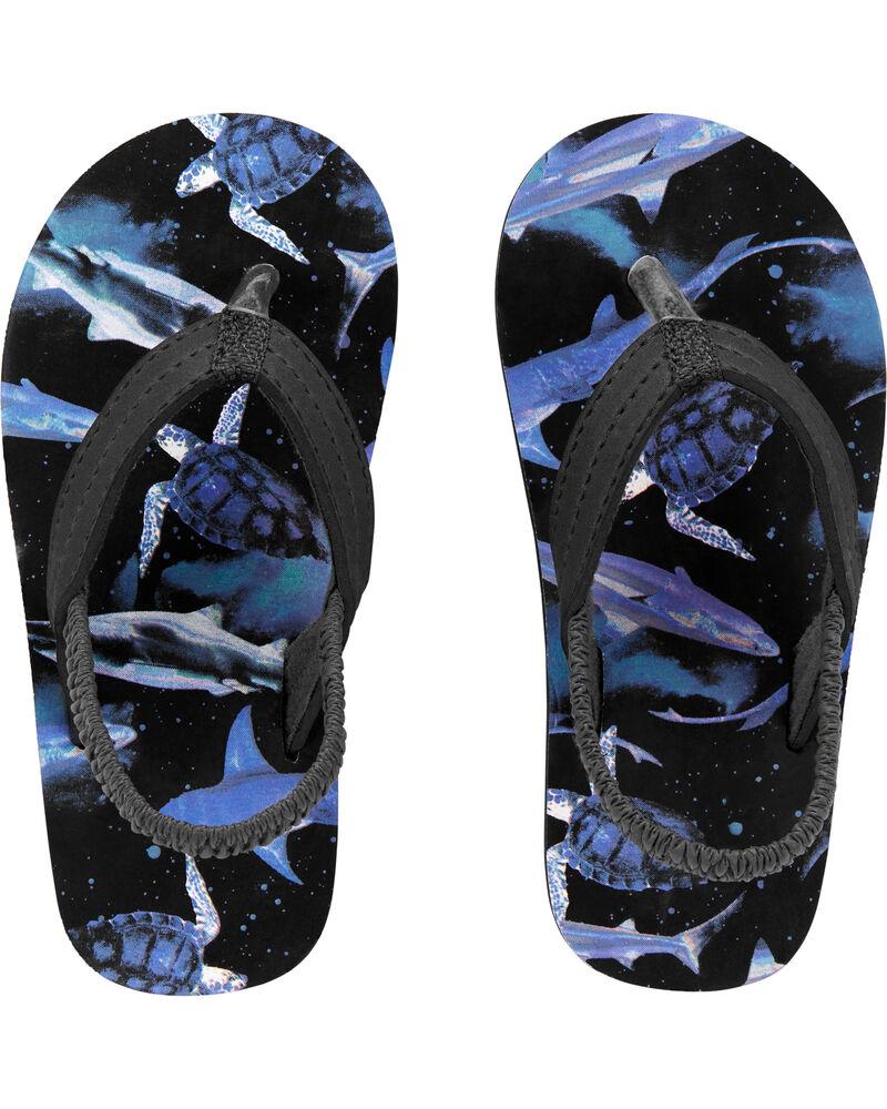 Spack Shark Print Flip Flops, , hi-res