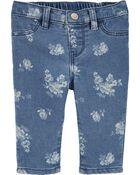 Jeans en tricot de denim fleuri, , hi-res