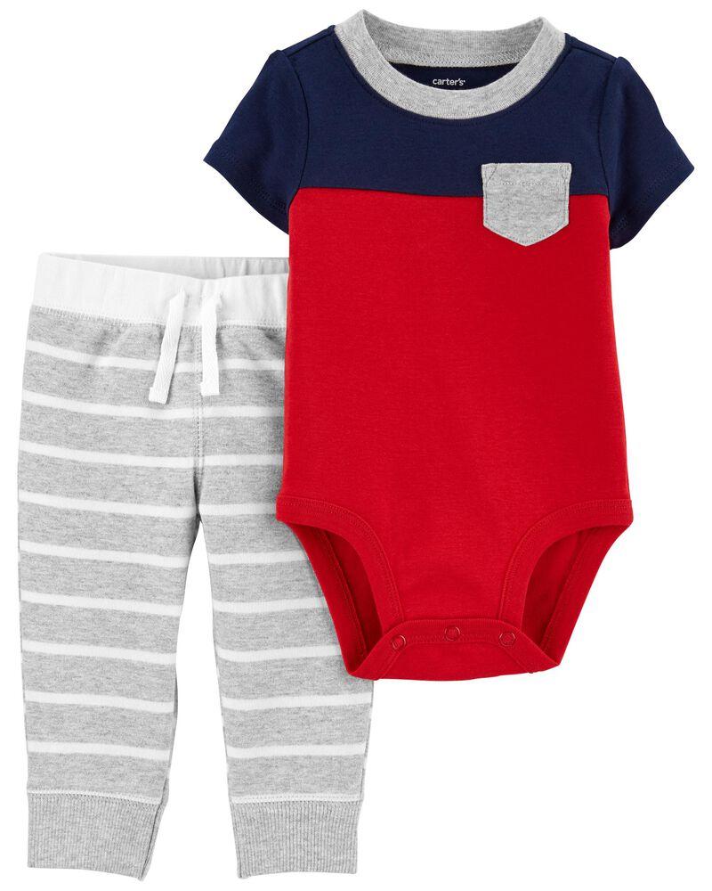 2-Piece Colourblock Bodysuit Pant Set, , hi-res