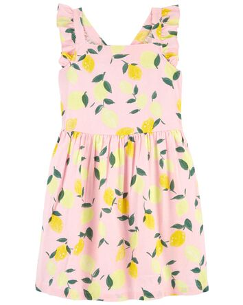 Lemon Flutter Linen Dress