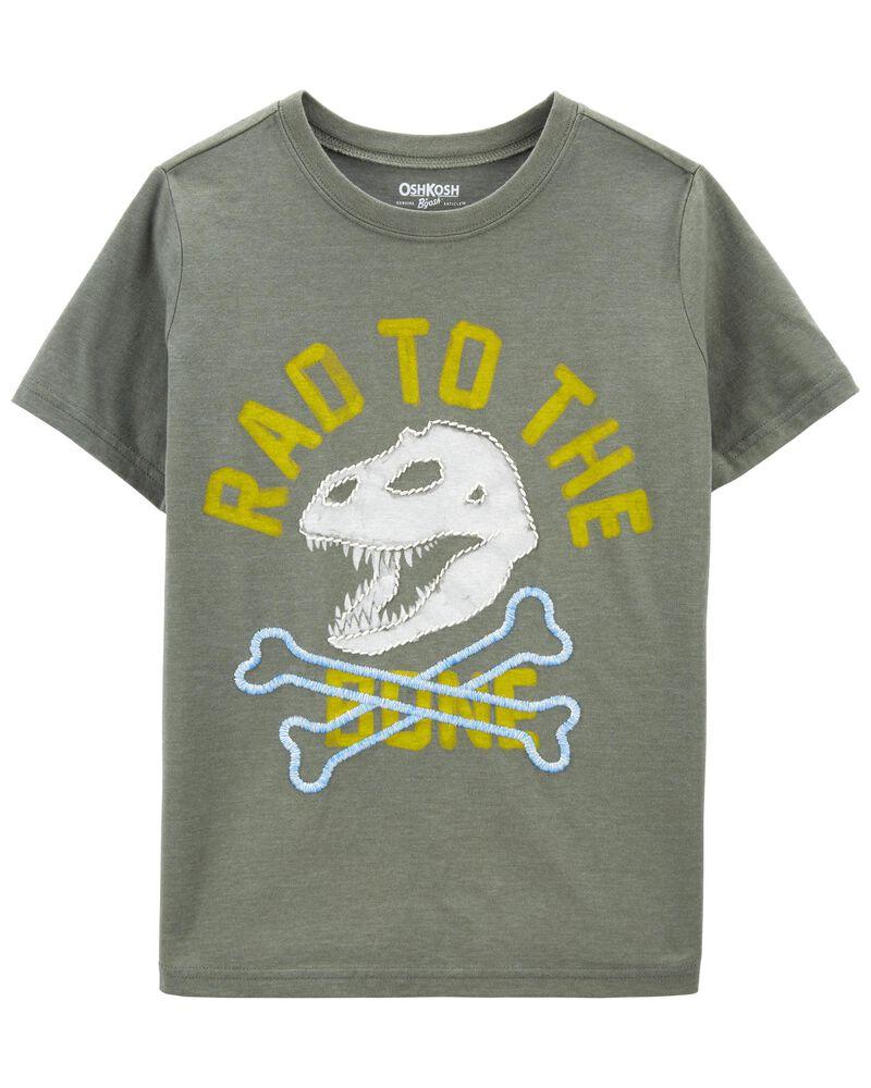 T-shirt brodé à os de dinosaure, , hi-res