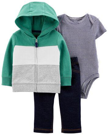 3-Piece Colourblock Jacket Set