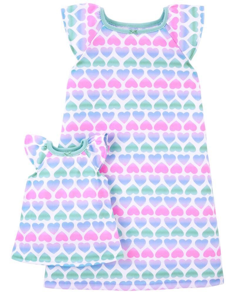 Emballage de 2 robes de nuit coordonnées pour elle et sa poupée , , hi-res