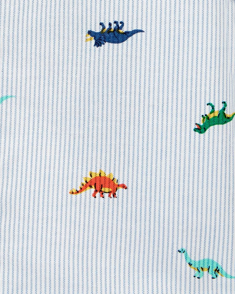 Striped Dino Button-Front Oxford Shirt, , hi-res