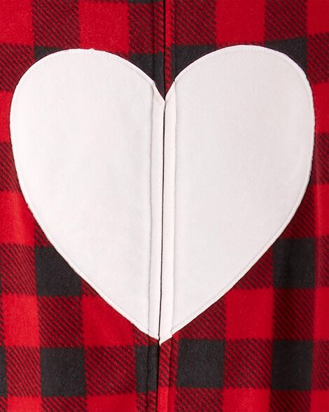 1-Piece Heart Fleece Footie PJs