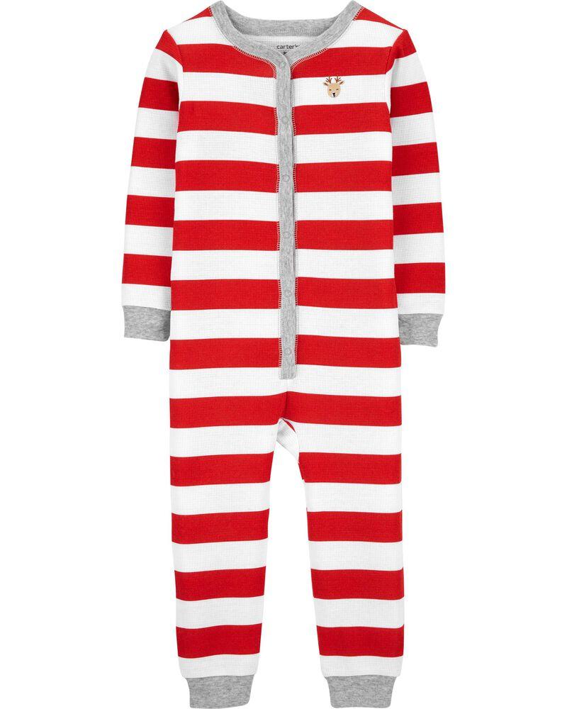 Pyjama isotherme à boutons-pression et pieds de Noël, , hi-res