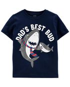 T-shirt en jersey à imprimé de papa requin, , hi-res