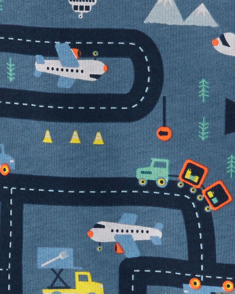Ensemble 2 pièces t-shirt en jersey bouclette à imprimé d'avion et pantalon de jogging, , hi-res