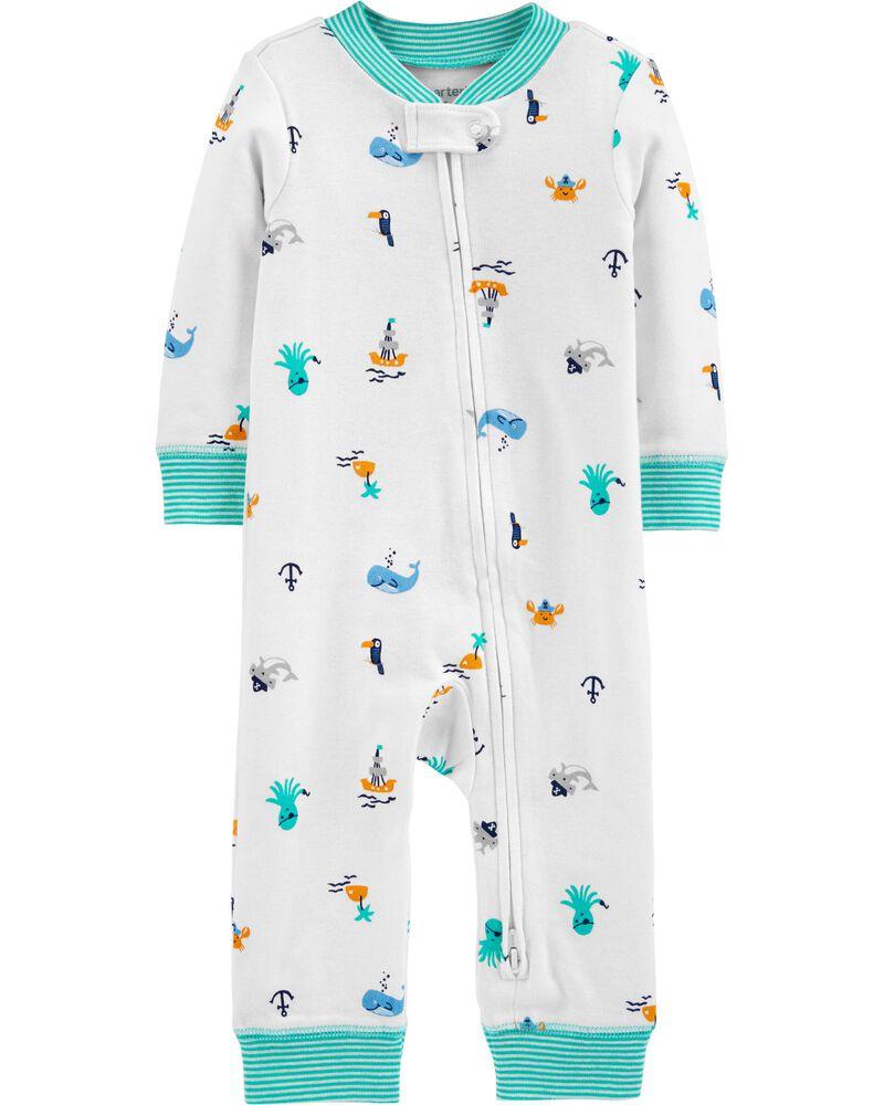 Pyjama 1 pièce sans pieds en coton ajusté à motif plage, , hi-res