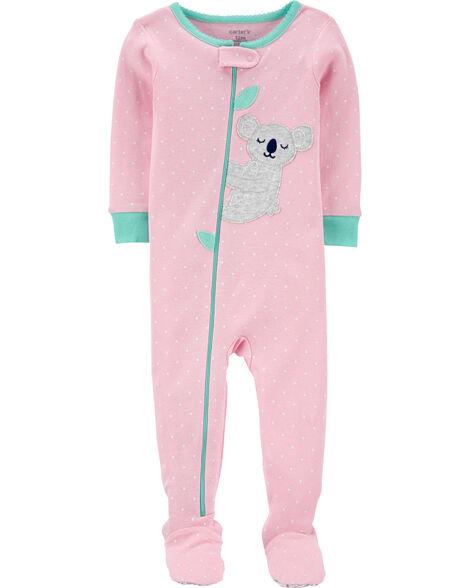 Pyjama 1 pièce avec pieds en coton ajusté à koala