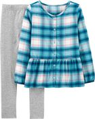 2-Piece Plaid Top & Legging Set, , hi-res