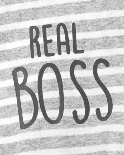 Grenouillère pour dormir et jouer en coton à boutons-pression en biais Real Boss