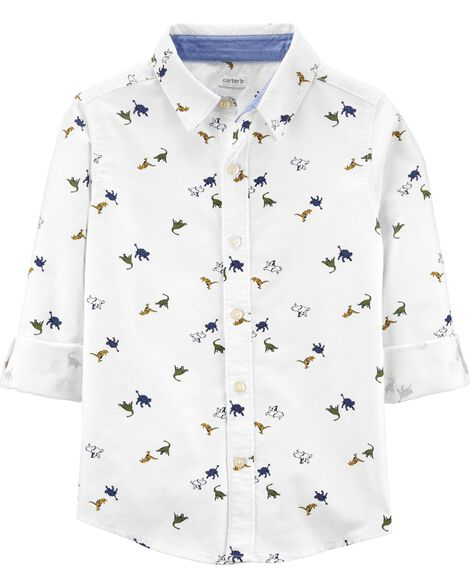 Dinosaur Oxford Button-Front Shirt