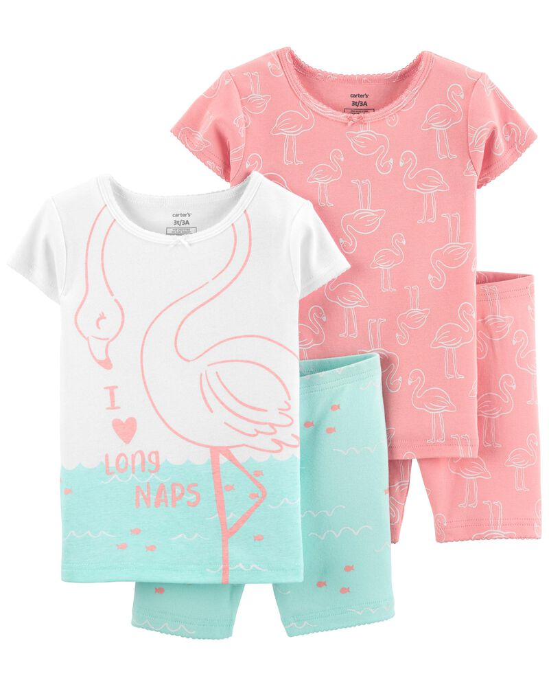4-Piece Flamingo 100% Snug Fit Cotton PJs, , hi-res