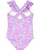 Heart 1-Piece Swimsuit, , hi-res