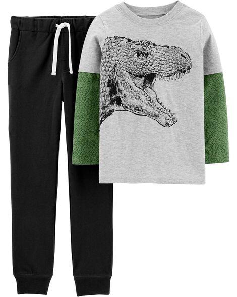 Ensemble 2 pièces t-shirt en jersey de style superposé à dinosaure et pantalon de jogging