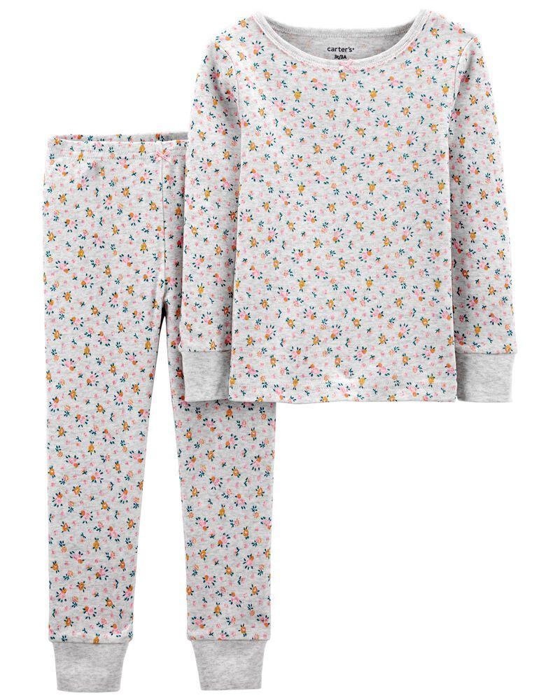 Pyjamas 2 pièces en coton ajusté à fleurs, , hi-res