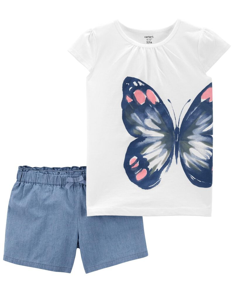 2-Piece Butterfly Jersey Tee & Legging Set, , hi-res