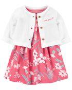 2-Piece Bodysuit Dress & Cardigan Set, , hi-res