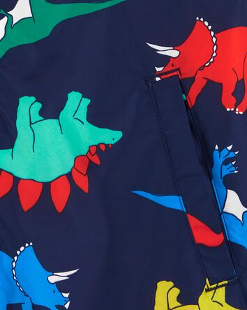 Fleece-Lined Dino Print Jacket