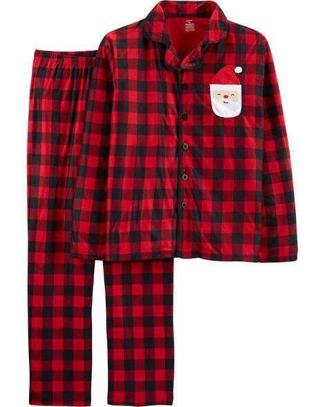 Pyjama 2 pièces en molleton à carreaux buffalo pour adultes