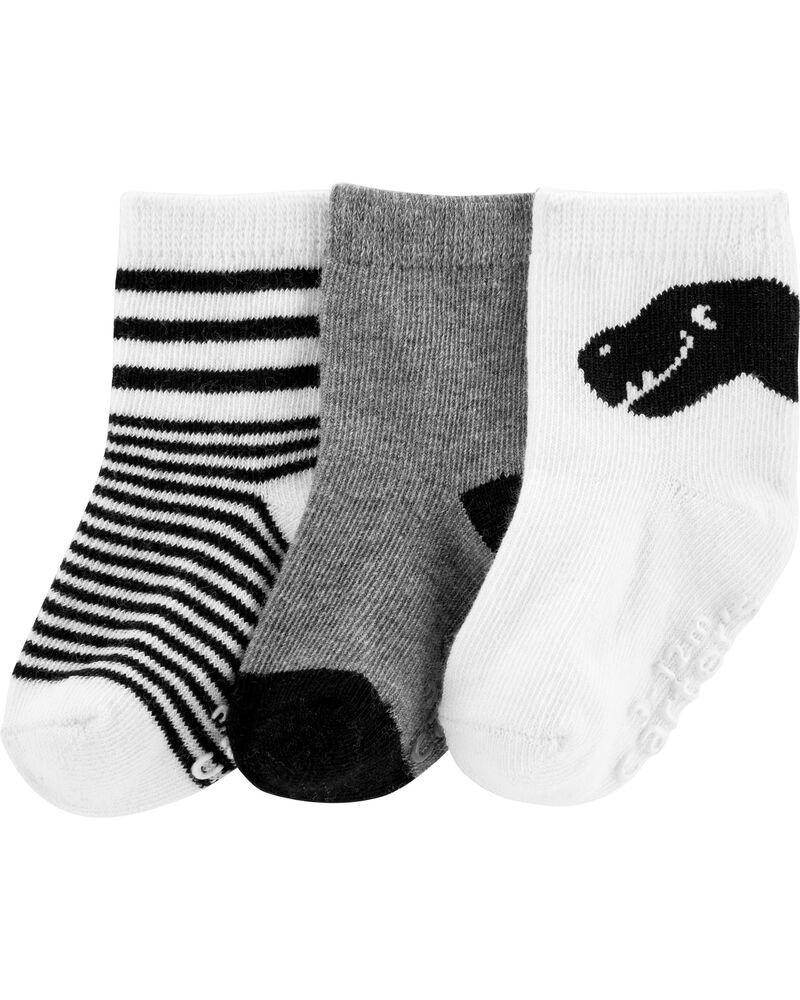 3 paires de chaussettes mi-mollet dinosaure, , hi-res