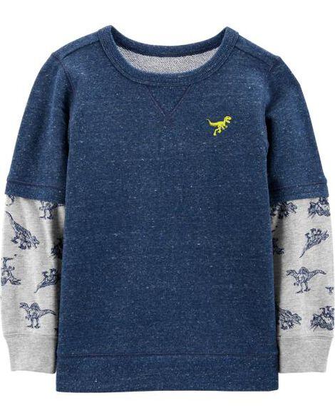T-shirt de style superposé en jersey bouclette avec dinosaure