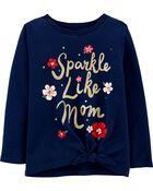 T-shirt en jersey nœud devant Sparkle Like Mom , , hi-res