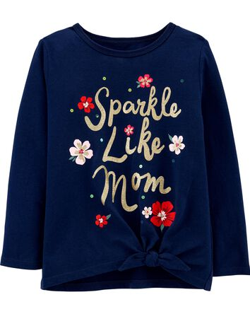 Sparkle Like Mom Tie-Front Jersey T...