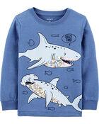 T-shirt chiné à requin, , hi-res