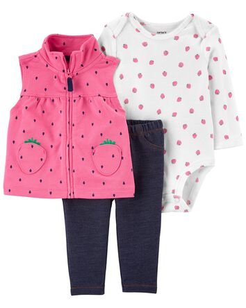 3-Piece Strawberry Little Vest Set