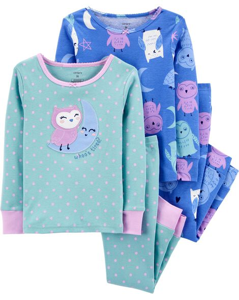 4-Piece Owl Snug Fit Cotton PJs