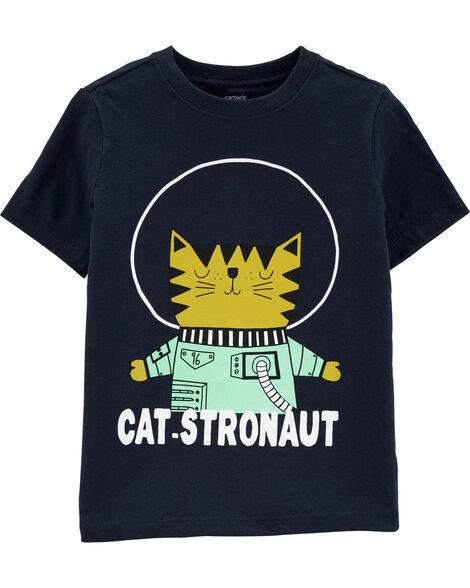 T-shirt en jersey à chat astronaute